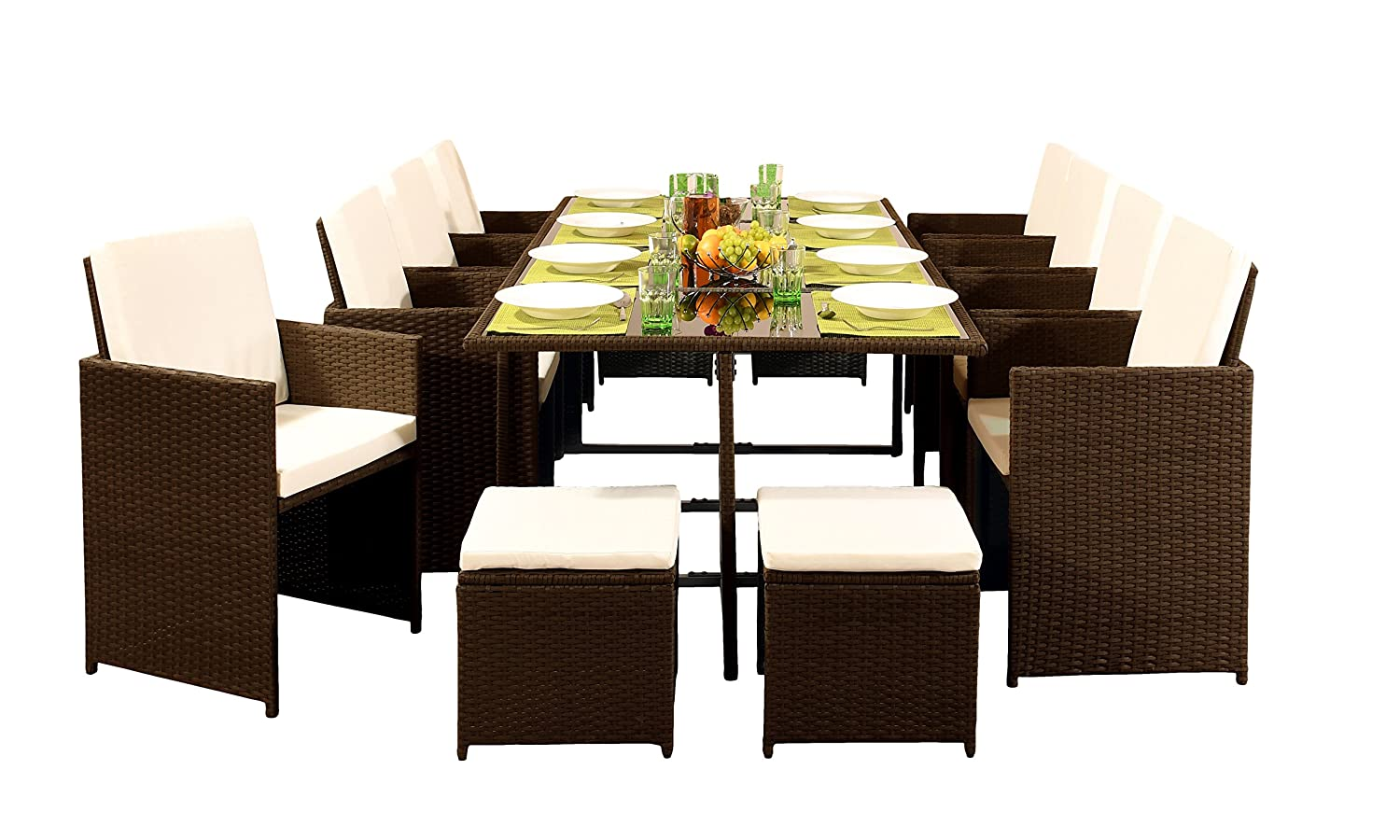 Surprising Comfy Living 12 Seater Rattan Outdoor Garden Furniture Set 8 Chairs 4 Stools Dining Table With Cover Dark Brown Ibusinesslaw Wood Chair Design Ideas Ibusinesslaworg