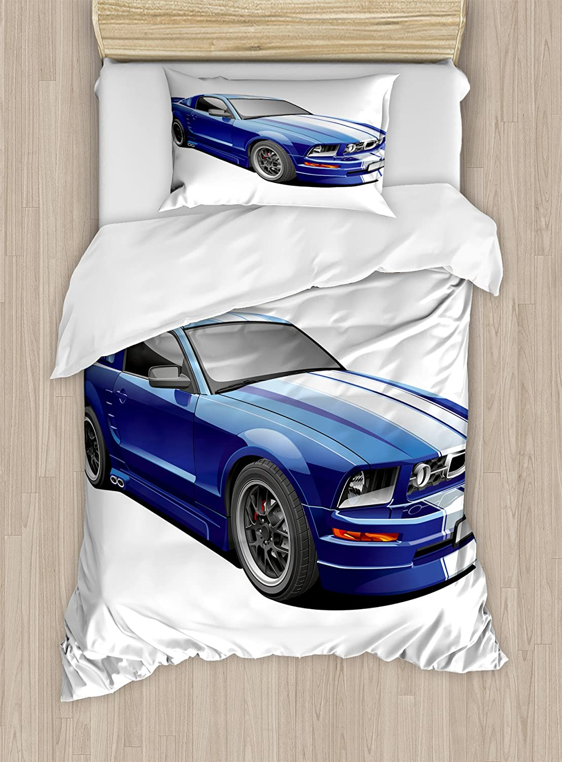 Ambesonne Teen Room Duvet Cover Set, American Auto Racing Theme Car Sports Competition Speed Winner Boys Kids Graphic, Decorative 2 Piece Bedding Set with 1 Pillow Sham, Twin Size, Blue Grey