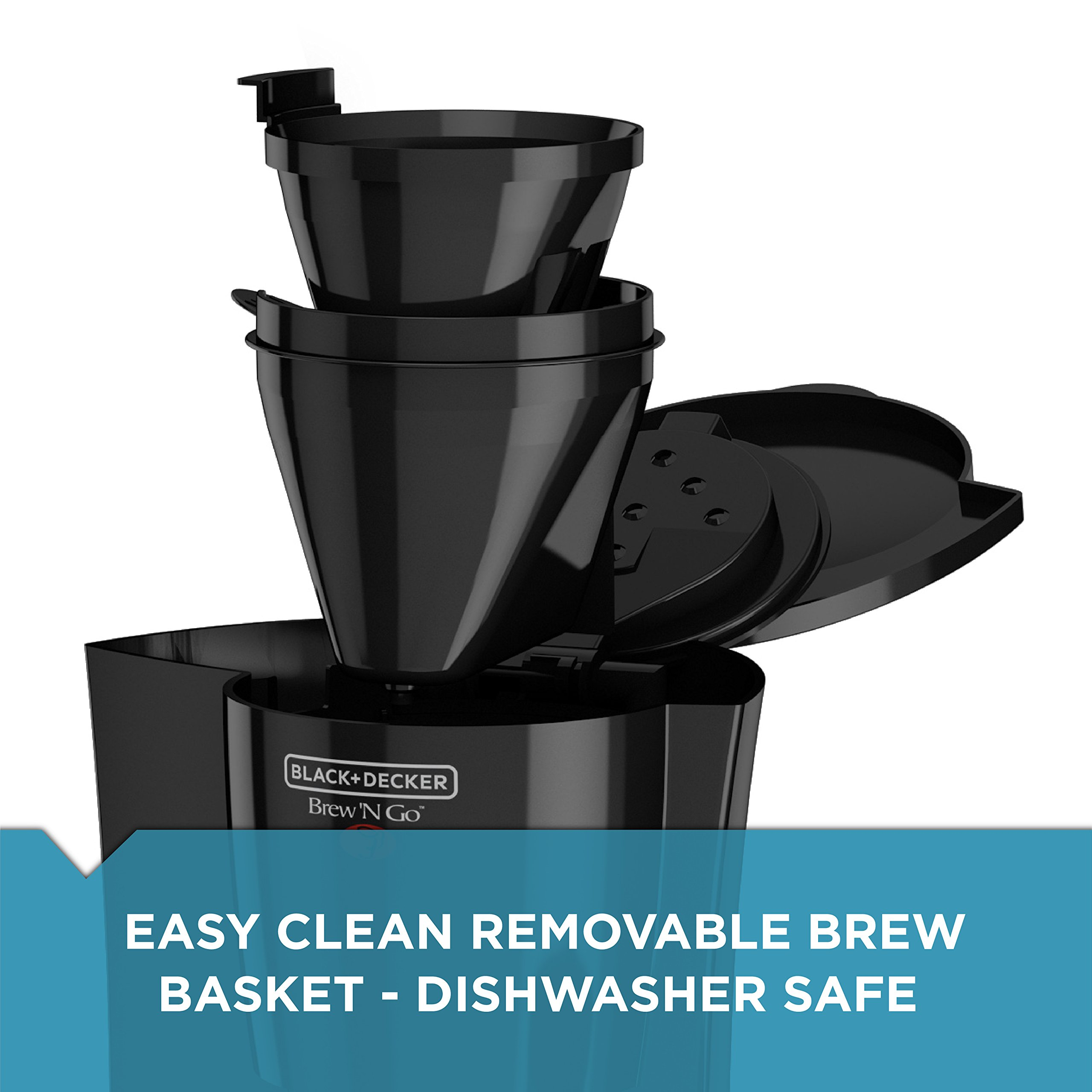 BLACK+DECKER DCM18S Brew 'n Go Personal Coffeemaker with Travel Mug, Black/Stainless Steel by Black & Decker (Image #4)