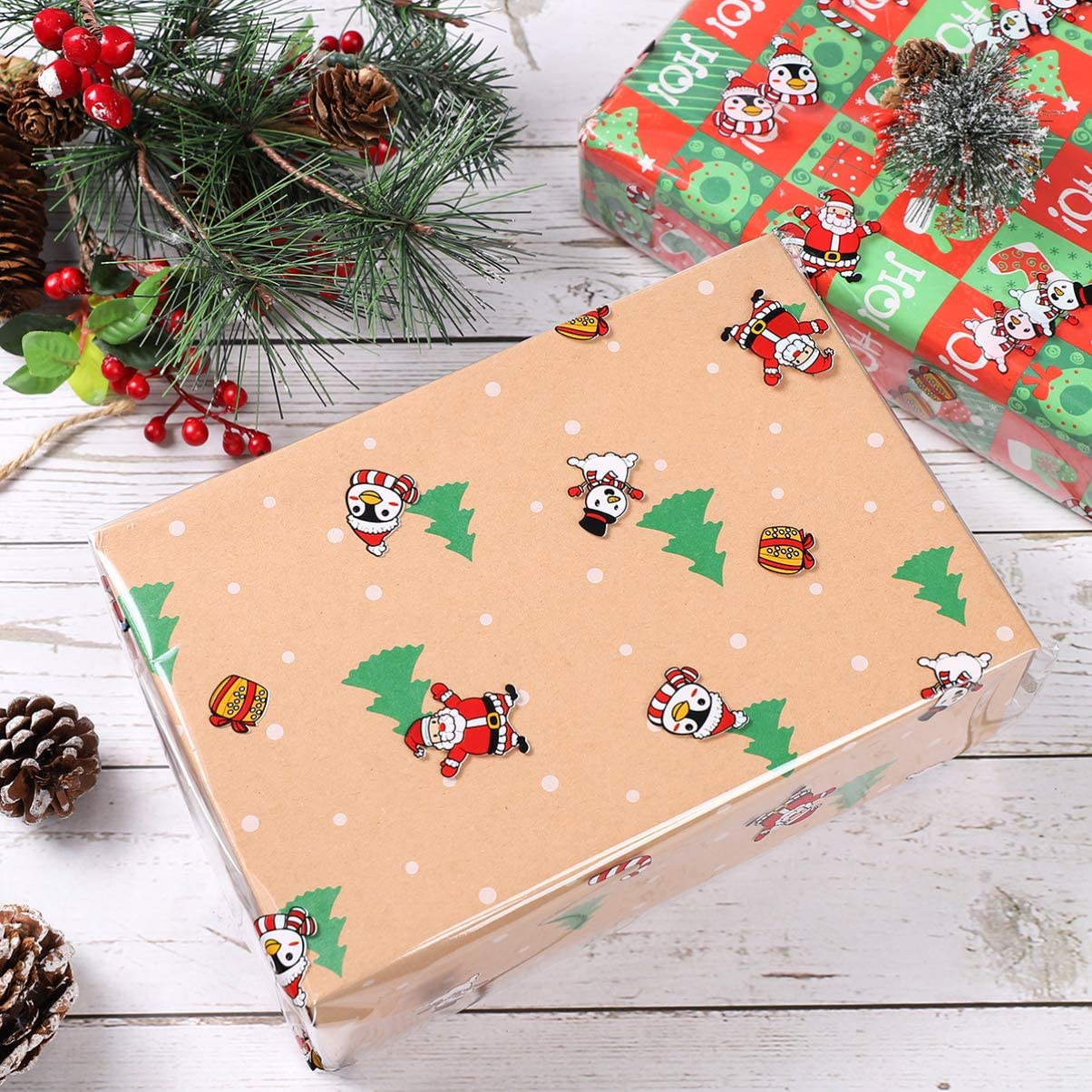 Color Santa Snowman Wrap Paper 2.5 Mil 3000x40cm NUOBESTY Christmas Cellophane Wrap Roll for Xmas Gift Wrapping Flowers Basket Packing Party Decorations