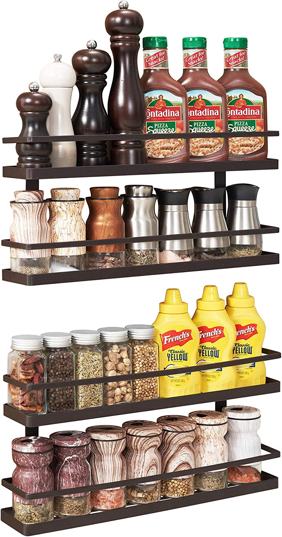 2 4 Pcs Wall Mount Ingredient Spice Bottle Rack Plastic Organizer Rack 5