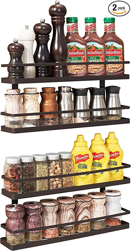 Amazon.com: 2 Pack - 2 Tier Wall Mounted Spice Rack Organizer, Spice Shelf Storage Holder for Kitchen Cabinet Pantry Door, Countertop: Home Improvement