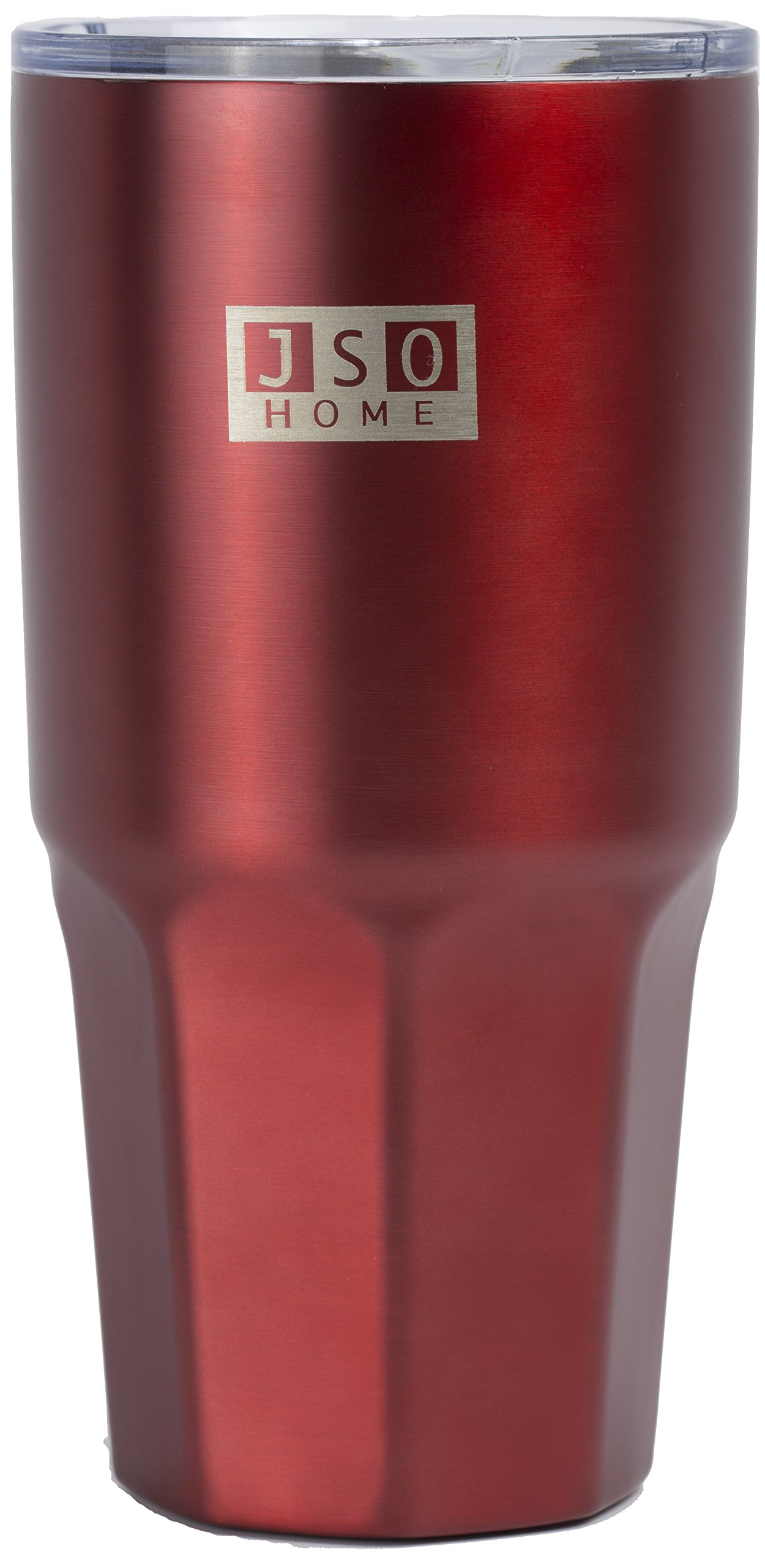 JSO Home MEGACUP 30 Ounce Hot / Cold Tumbler - 18/8 Stainless Steel - Double Wall Insulated, Condensation Free / BPA Free Travel Mug (Red)