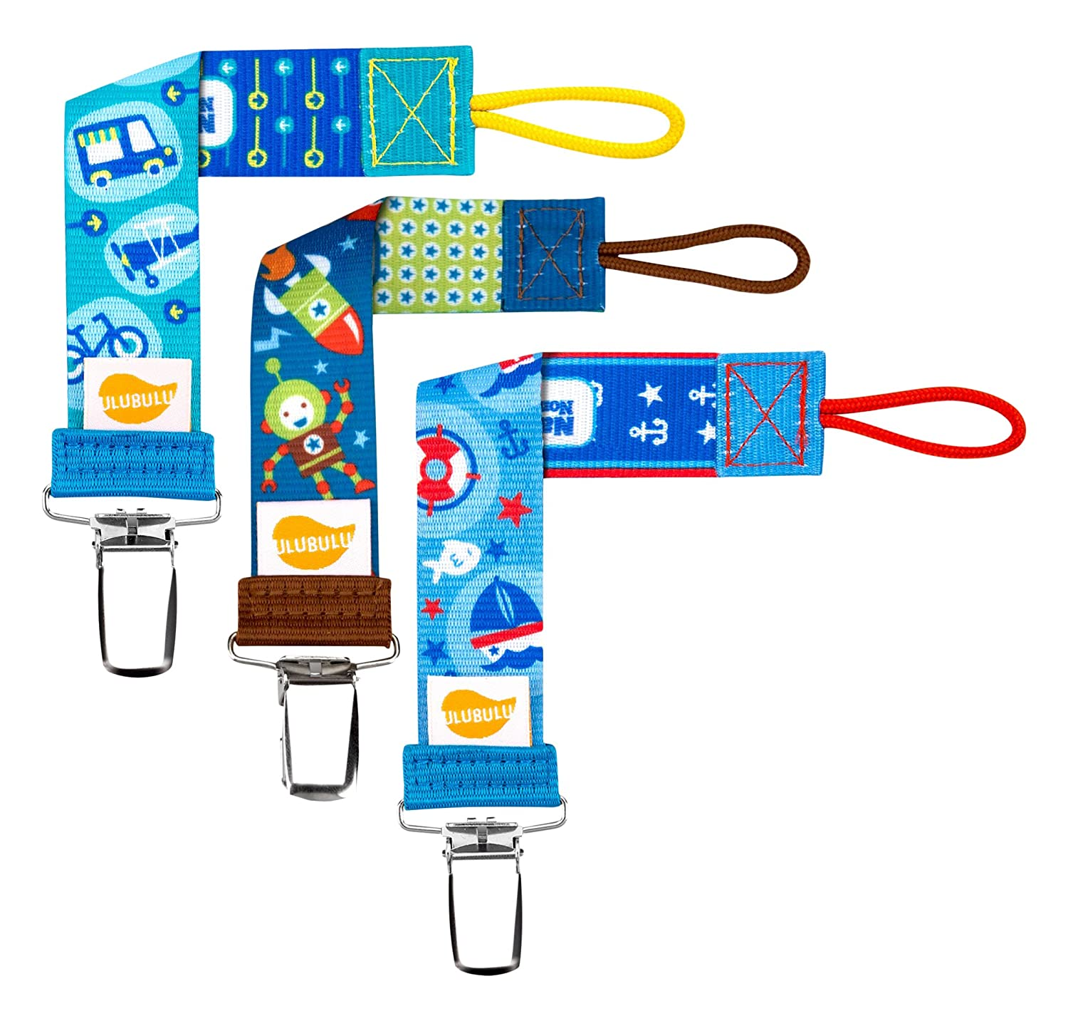 Ulubulu Combo 3 Piece Pacifier Clips, Boys Transportation 4-CP-3-003