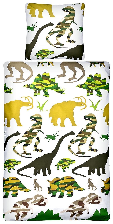 Aminata kids – Kinder-Bettwäsche 135x200 cm Dinosaurier Dino Jurassic 100-% Baumwolle dunkel-grün weiss Junge-n Jungs Jugend-liche zwei-farbig-e Decken-Bezug Linon Bett-Bezüge trux Giganten Jahr-e Urzeit T-Rex trendige cool-e kuschelig-e