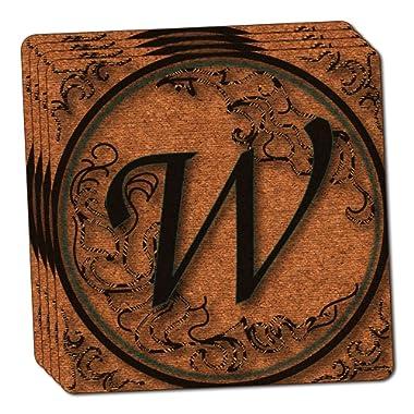 Vintage Letter W Initial Black Tan Thin Cork Coaster Set of 4