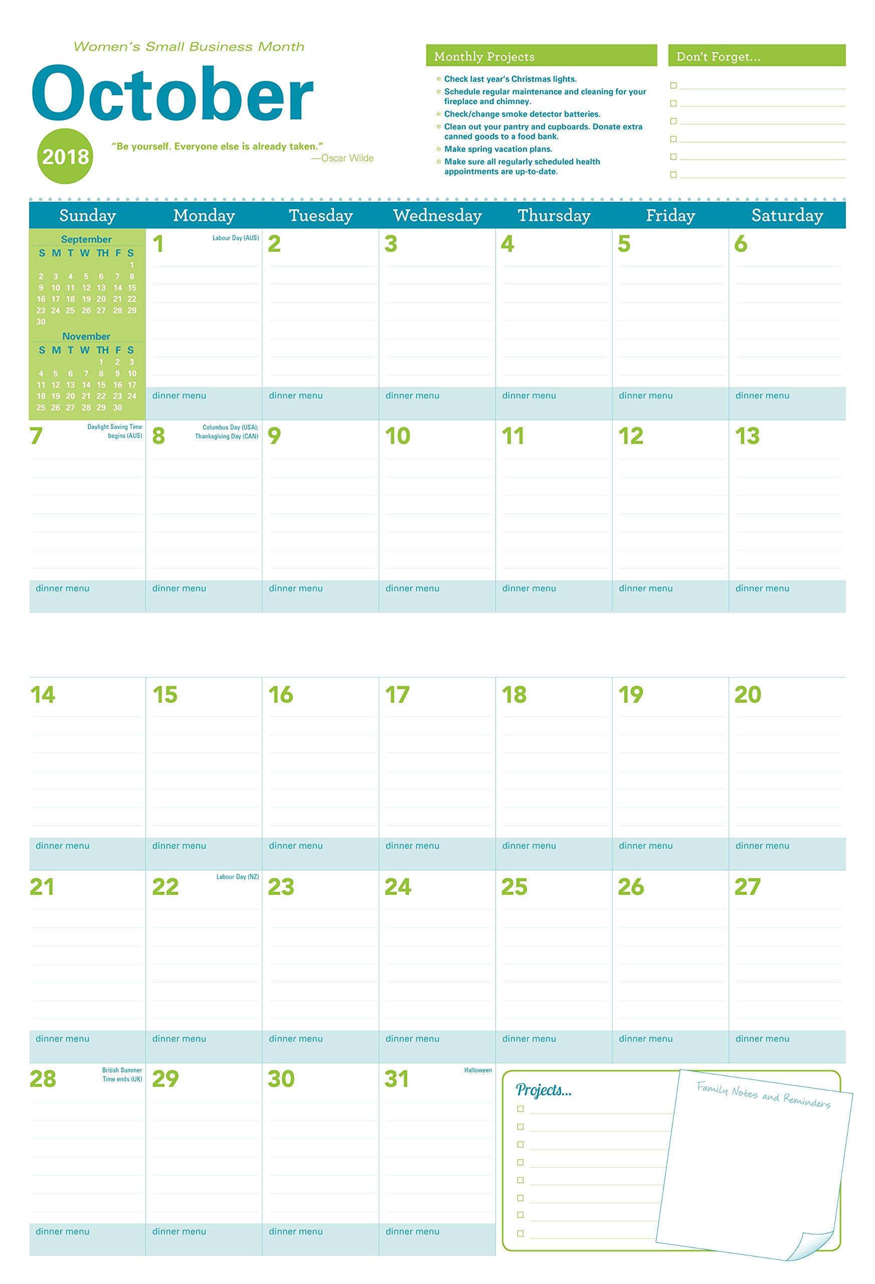 2018 Amy Knapp Big Grid Wall Calendar August 2017 December 2018