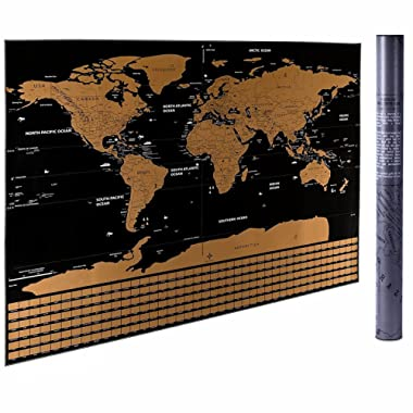 CNSUNWAY LIGHTING 32.5  x 23.4  Scratch Off The World Map, Travel Scratch Map Poster with US States and Country Flags (Black World Map)