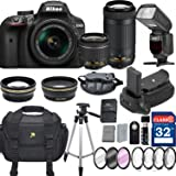 Nikon D3400 DX-format Digital SLR w/ AF-P DX NIKKOR 18-55mm f/3.5-5.6G VR and 70-300mm F/4.5-5.6G DX Lens + 32GB Memory Professional Accessory Bundle – International Version