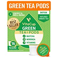 VitaCup Green Tea Pods 16ct with Matcha, Moringa, and Vitamins, Keto|Paleo|Whole30...