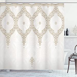 Ambesonne Moroccan Shower Curtain, Ornate Background with Traditional Soft Color Eastern Elements and Pattern, Cloth Fabric Bathroom Decor Set with Hooks, 75