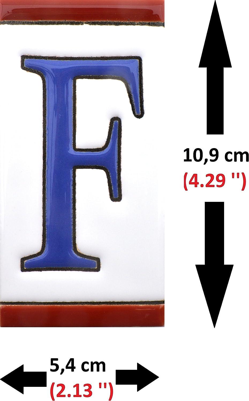 Dise/ño USA MEDIANO 10,9 cm x 5,4 cm. direcciones y se/ñal/éctica Numeros y letras en azulejo de ceramica N/úmeros casa pintados a mano en t/écnica cuerda seca para nombres NUMERO NUEVE 9