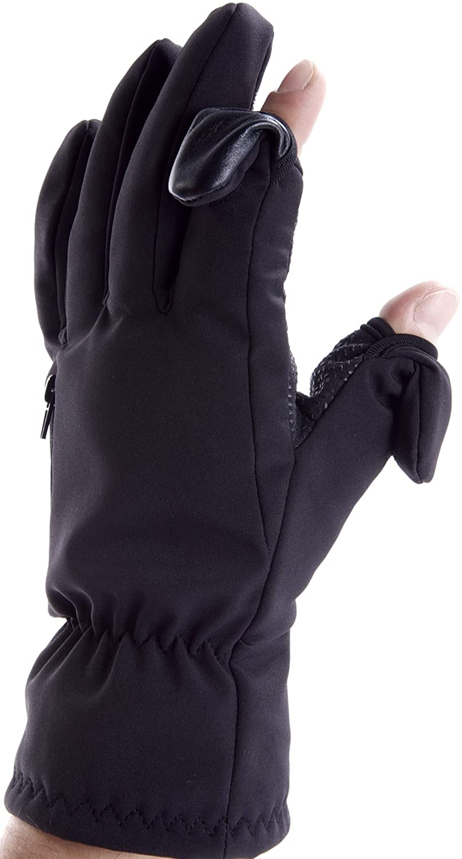 Guanti Unisex per Sci e Fotografia. Punta delle dita ripiegabile e fissabile magneticamente con taschina zip per schede di memoria.