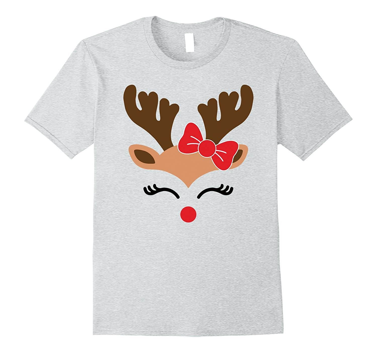 Kids Christmas Shirts.Reindeer Face T Shirt For Girls Funny Christmas Tee For Kids Fl