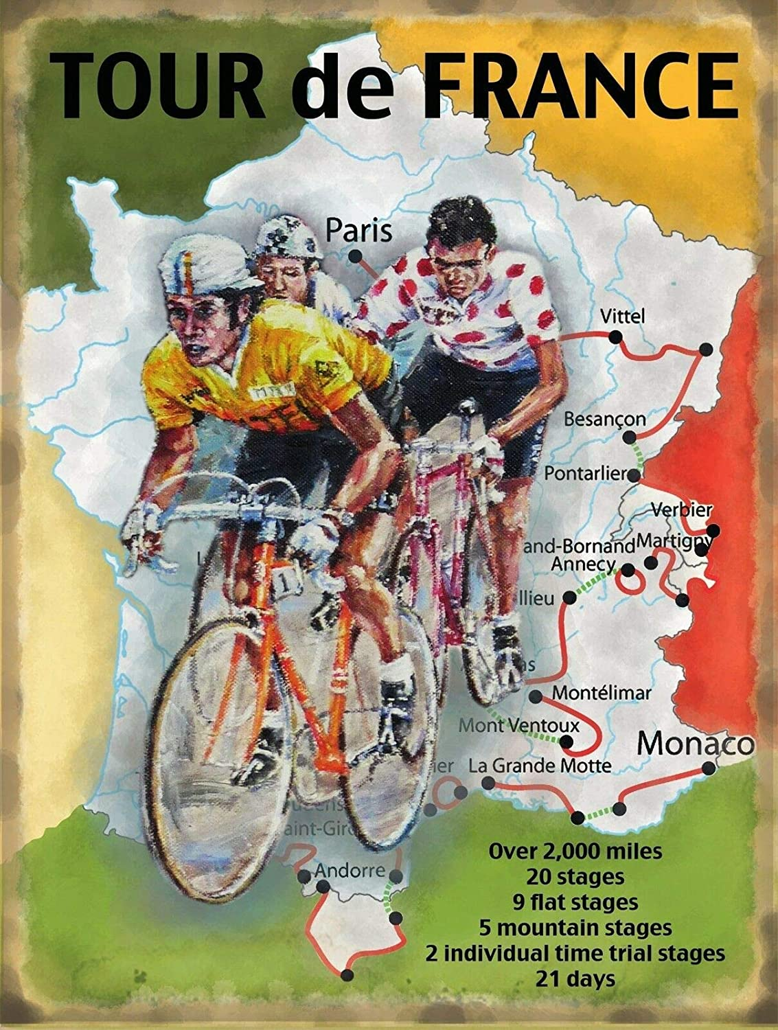 SIGNCHAT France Map Cycling Vintage Metal Steel Advertising Sign Plaque Metal Sign Metal Sign Bar Pub Home Metal Poster Wall Art Decor Tin Sign 8X12 Inches