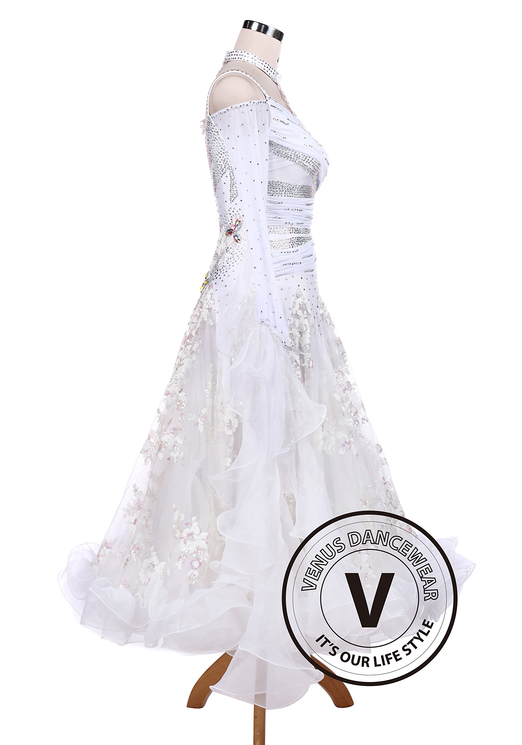 White Sequin Embroidered Ballroom Competition Dance Dress by Venus Dancewear (Image #3)