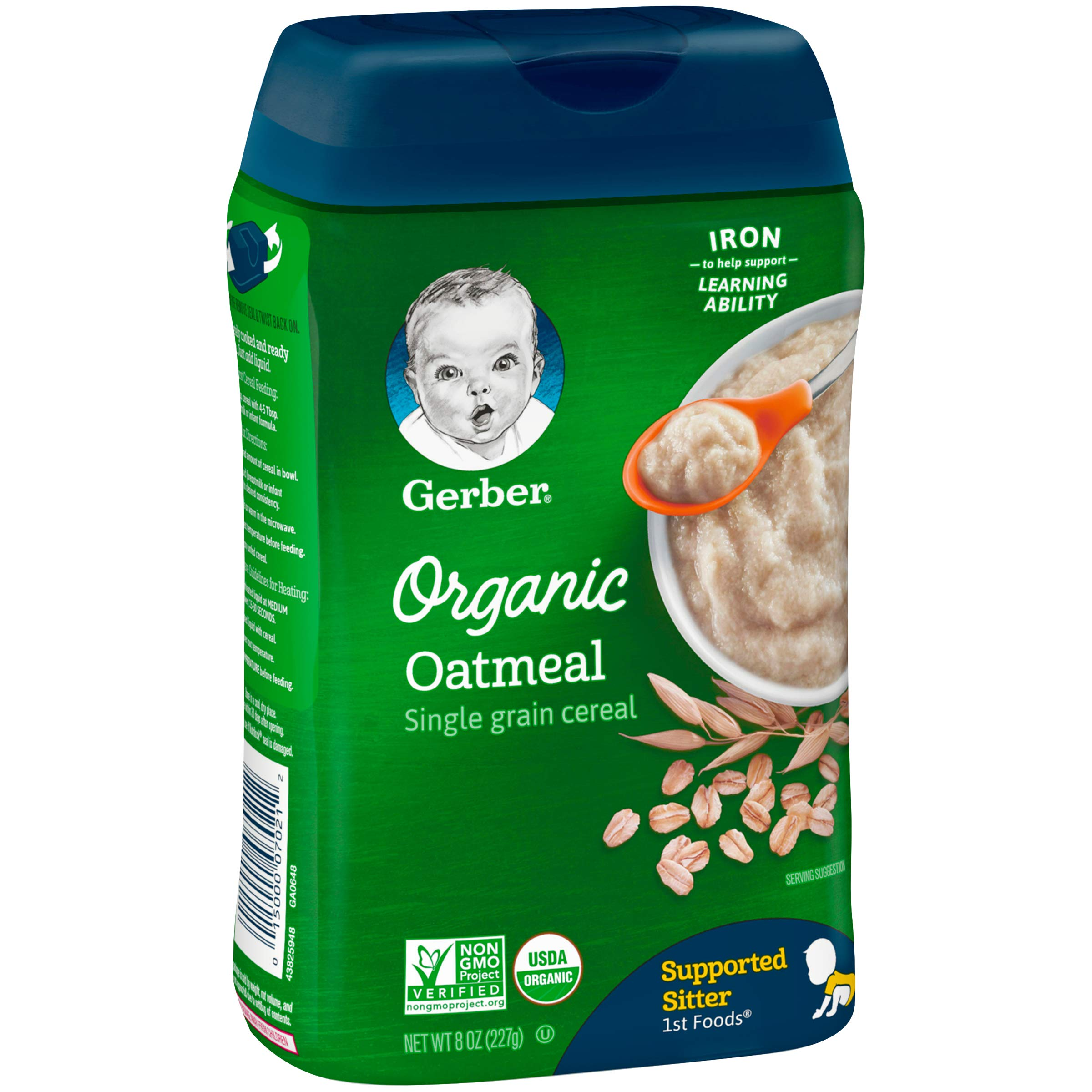 Gerber Organic Single-Grain Oatmeal Baby Cereal, 8 Ounce (Pack of 6) by Gerber Baby Cereal (Image #4)