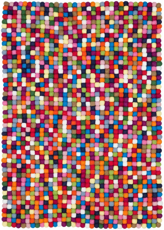 Myfelt Lotte Filzkugelteppich, rechteckig, Schurwolle, bunt, 50 x 70 cm