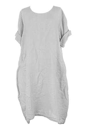 fe91cca74c TEXTURE Ladies Womens Italian Lagenlook 2 Pocket Premium Linen Tulip Midi  Dress One Size (Light Grey