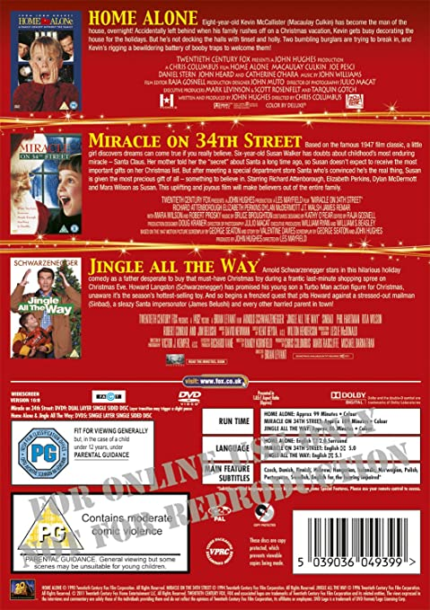 Home Alone/Miracle On 34Th Street/Jingle All The Way 3 Dvd Edizione: Regno Unito Reino Unido: Amazon.es: Movie, Film: Cine y Series TV