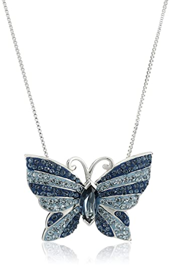 moon butterfly dp pendant necklace jewelry picture glass blue