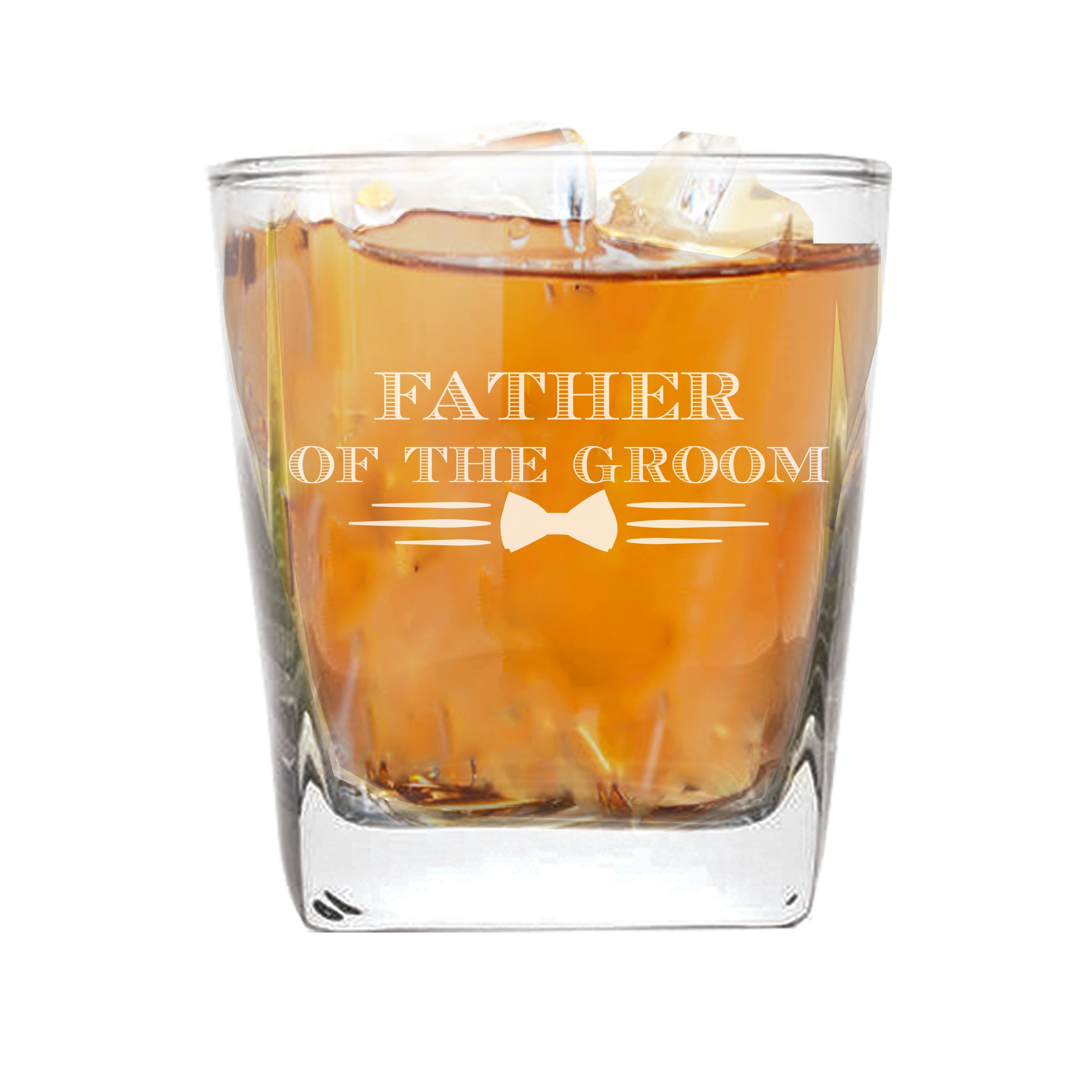 Whiskey Rocks Glasses for Bachelor Party, Weddings, Wedding Favors, Whisky Gifts (Bow Tie Style 9oz, Father of the Groom Glass)