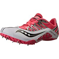 Saucony Women's Spitfire Track Spike Racing Shoe, White/Pink, 7. 5 M US
