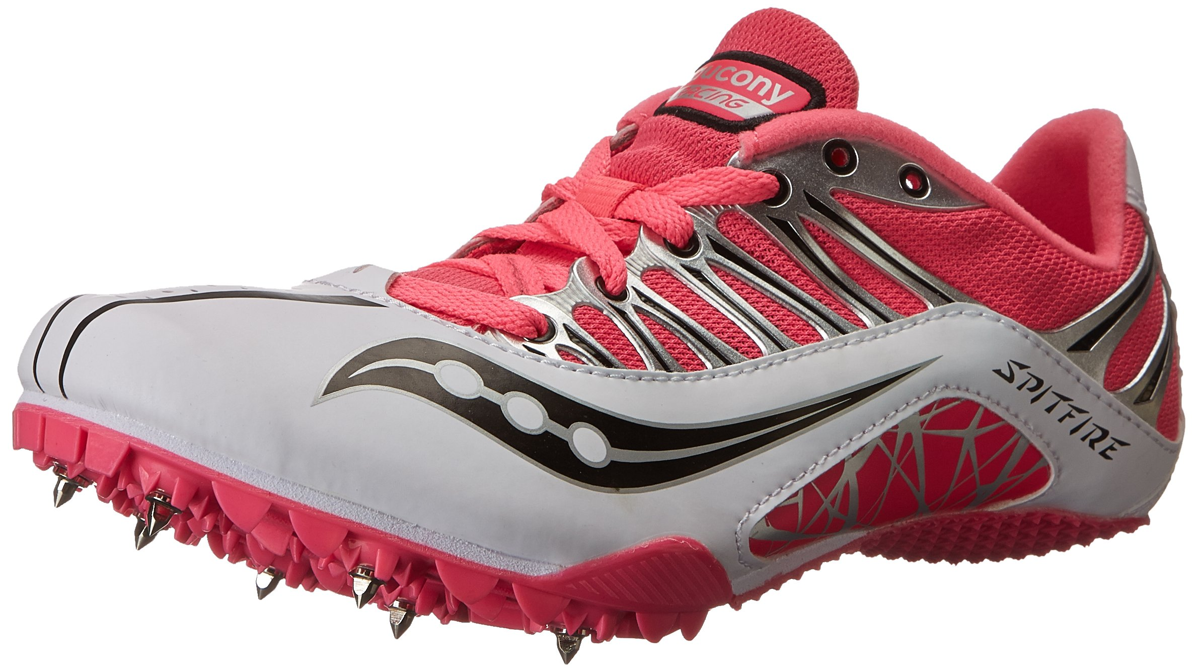 Saucony Women's Spitfire Track Spike Racing Shoe,White/Pink,6.5 M US