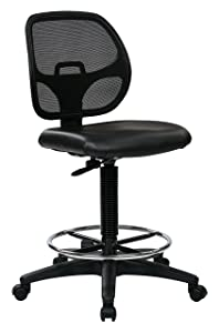 Office Star Deluxe Vinyl Seat and Mesh Back Drafting Chair with 20-inch Diameter Adjustable Footring, Black