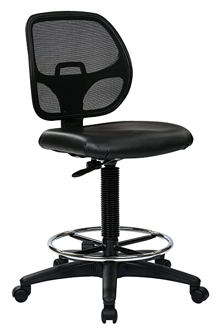 amazon com office star deluxe vinyl seat and mesh back drafting