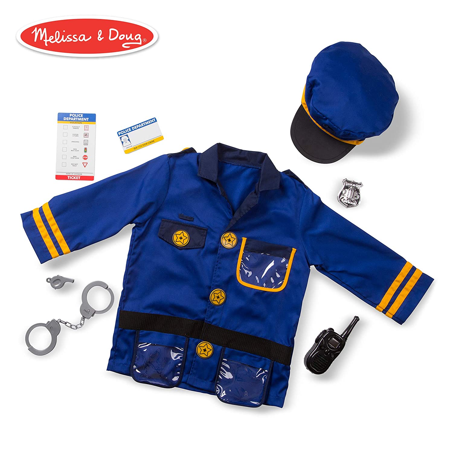 Melissa & Doug Police Officer Role-Play Costume Set (Pretend Play,  Materials, Machine Washable, 17 5