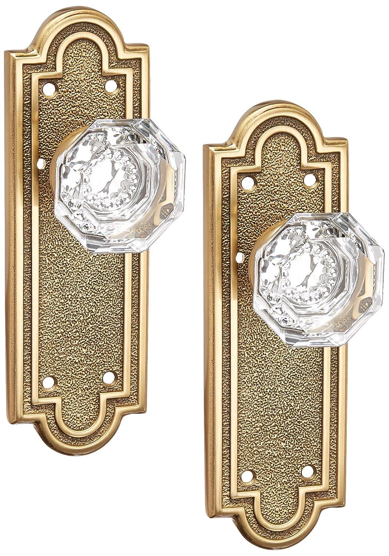 Emtek 8102OTUS15 Belmont Plate Set With Old Town Crystal Door Knobs Passage Satin Nickel Antique Brass Door Hardware