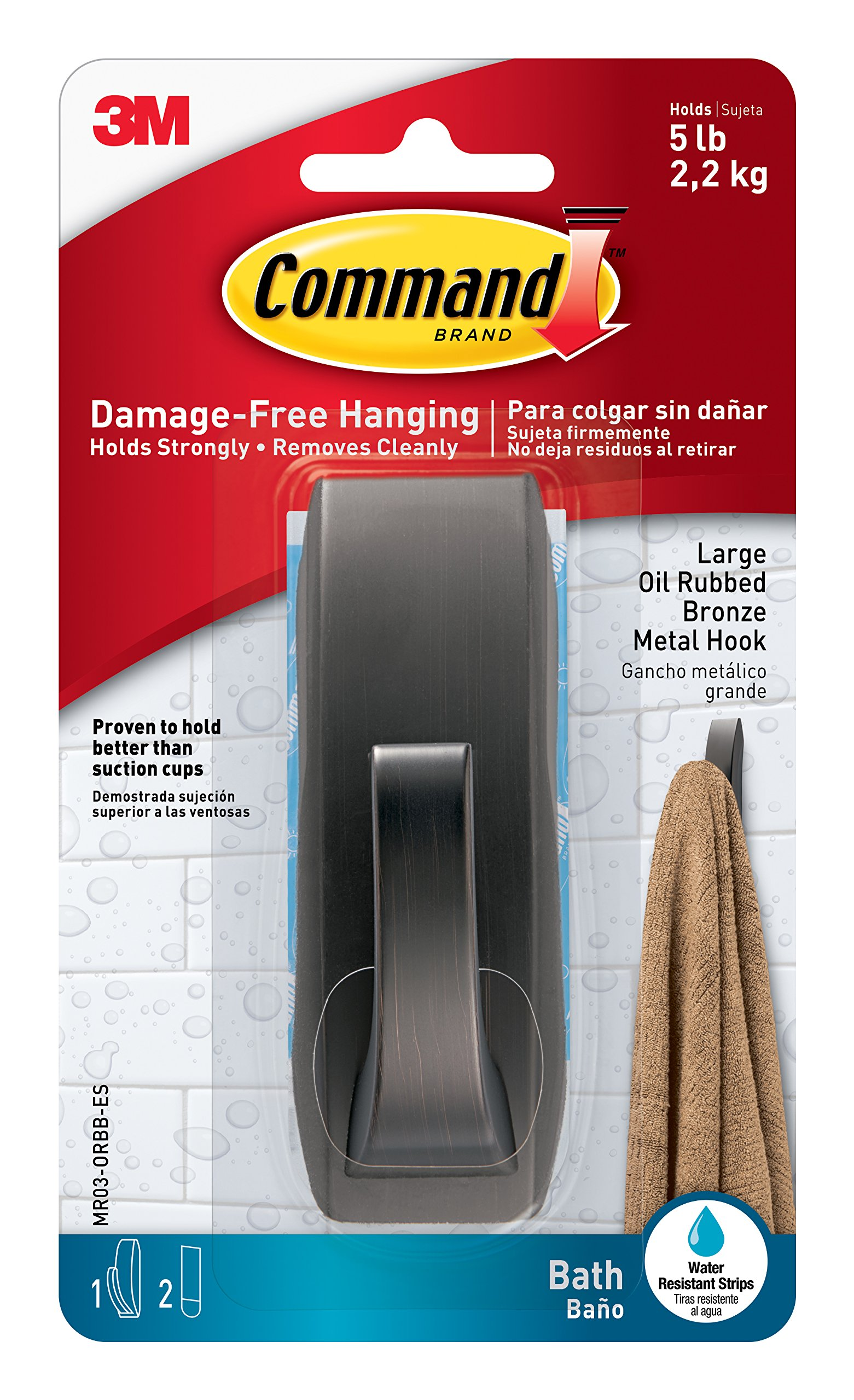 Command Modern Reflections Metal Bath Hook, Large, Oil Rubbed Bronze, 1-Hook with Water-Resistant Strips (MR03-ORBB-ES)