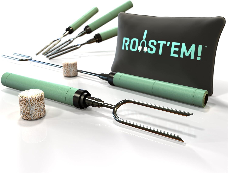 Linxueyi Telescoping BBQ Fork Roasting Sticks Marshmallow Hot Dog Smore Skewers Stainless Steel