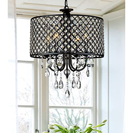 Lumos Antique Black 4 Light Round Crystal Chandelier Drum Pendant Ceiling Lighting Fixture For Dining