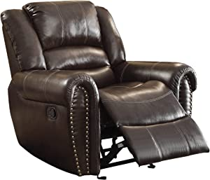 """Homelegance Center Hill 42"""" Bonded Leather Glider Reclining Chair, Brown"""