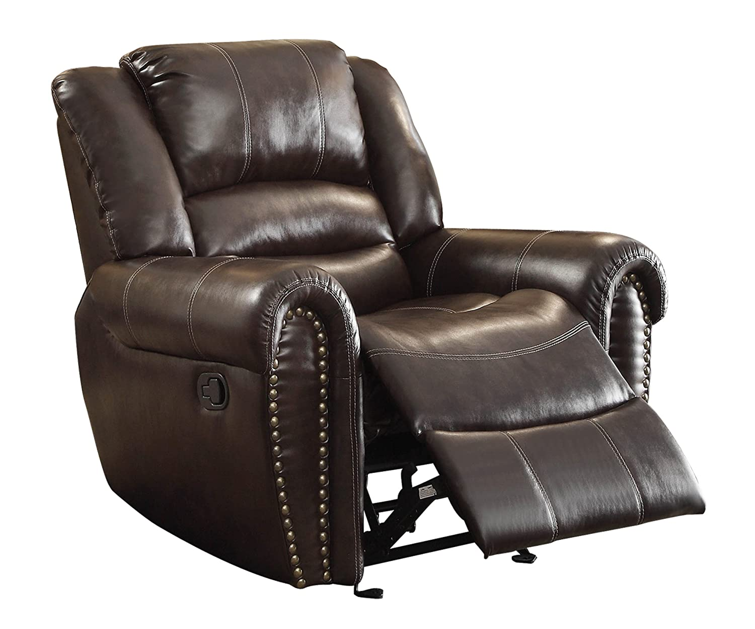 7. Homelegance 9668BRW-1 Glider Reclining Chair, Brown Bonded Leather