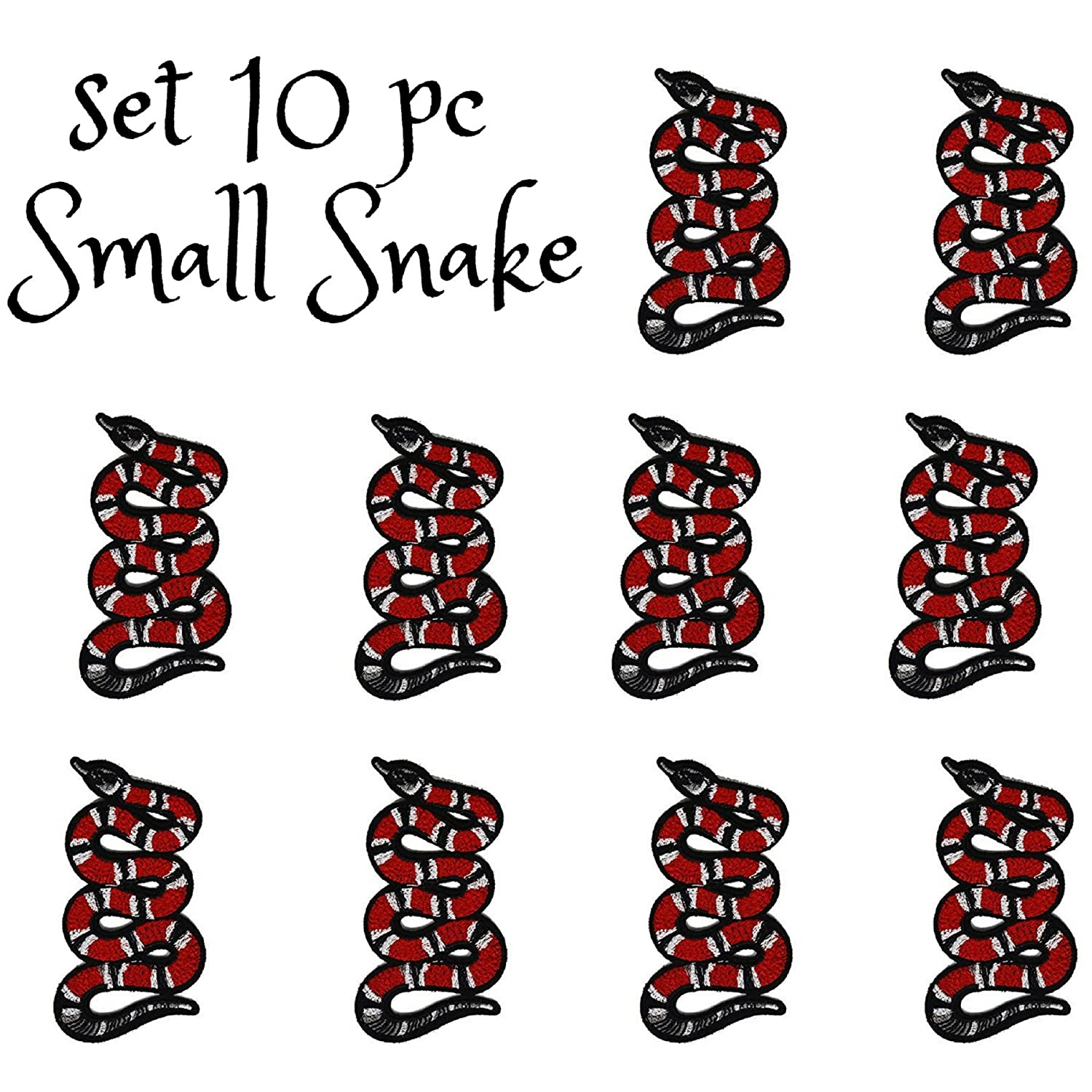 10 PCS Small Red Snake Patches Embroidered Iron-On Applique Patches Stickers Embroidered Sew Patches for Clothing Bags Shoes by Special100%
