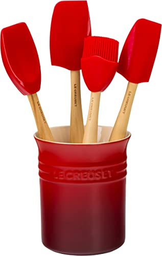 Le Creuset Silicone Craft Series Utensil Set with Stoneware Crock