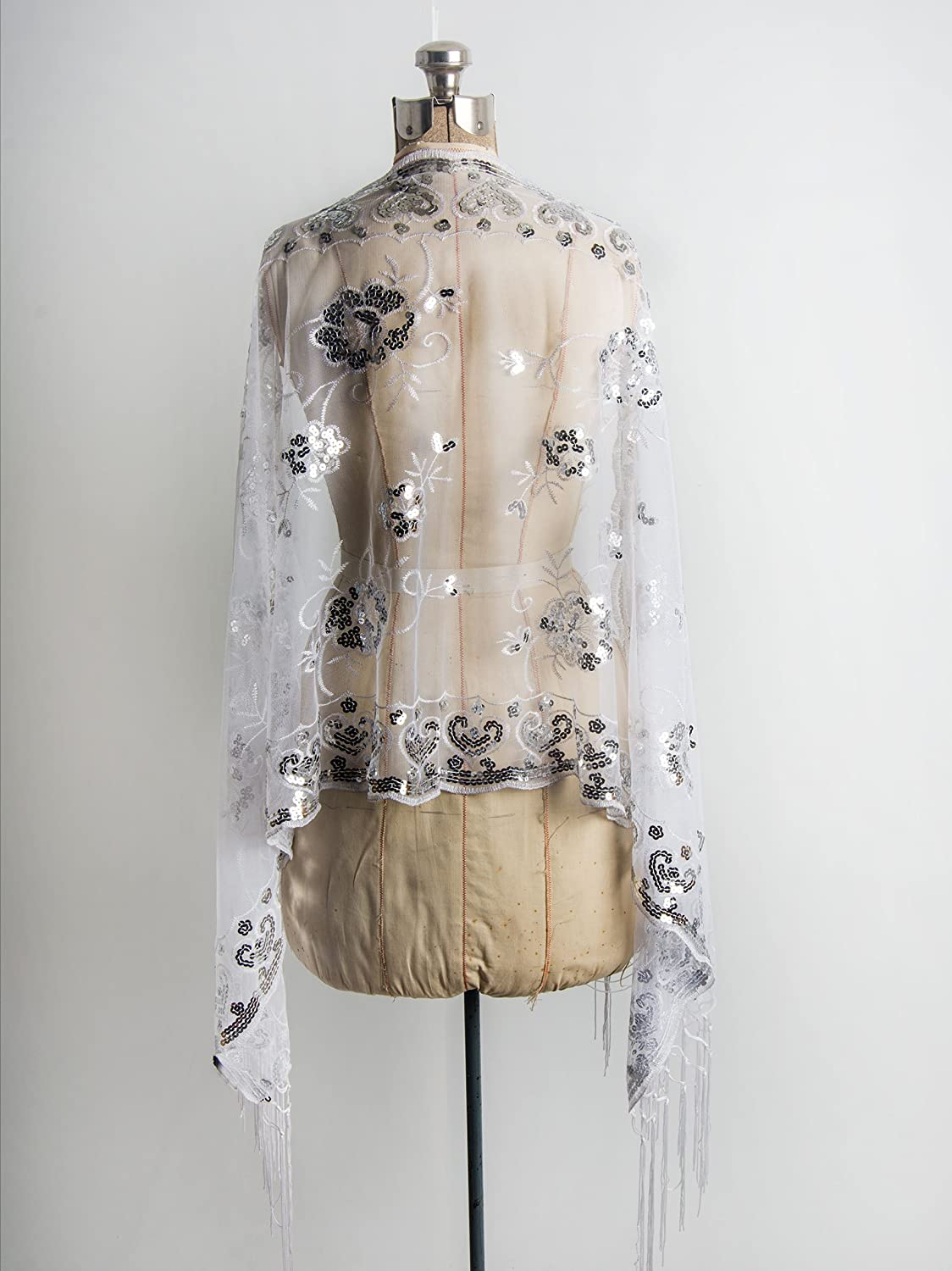 1920s Wedding Dresses- Art Deco Style Madison Shawl Long Fringe Sequin Evening Wrap $16.95 AT vintagedancer.com
