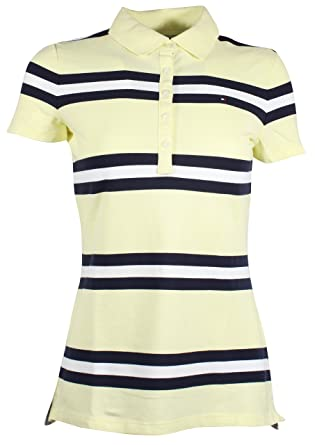 66467a9d7 Tommy Hilfiger Women's 5 Button Striped Polo Shirt (XX-Small, Yellow/Navy