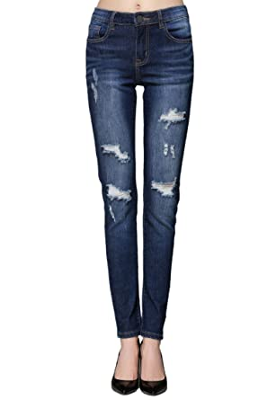 52456412e0 ZLZ Butt Lift Skinny Jeans, Women's Casual Destroyed Ripped Distressed Stretch  Jeans Legging. (