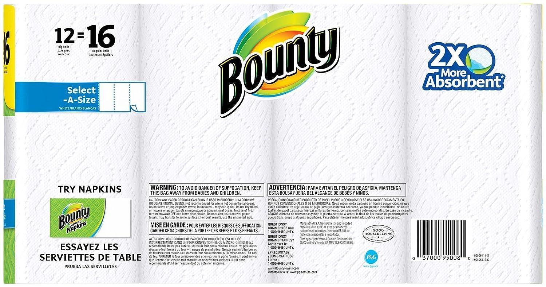 Bounty select-a-size toallas de papel, blanco, 12 rollos H&PC-71022, Pack De 1, Blanco, 1: Amazon.es: Salud y cuidado personal