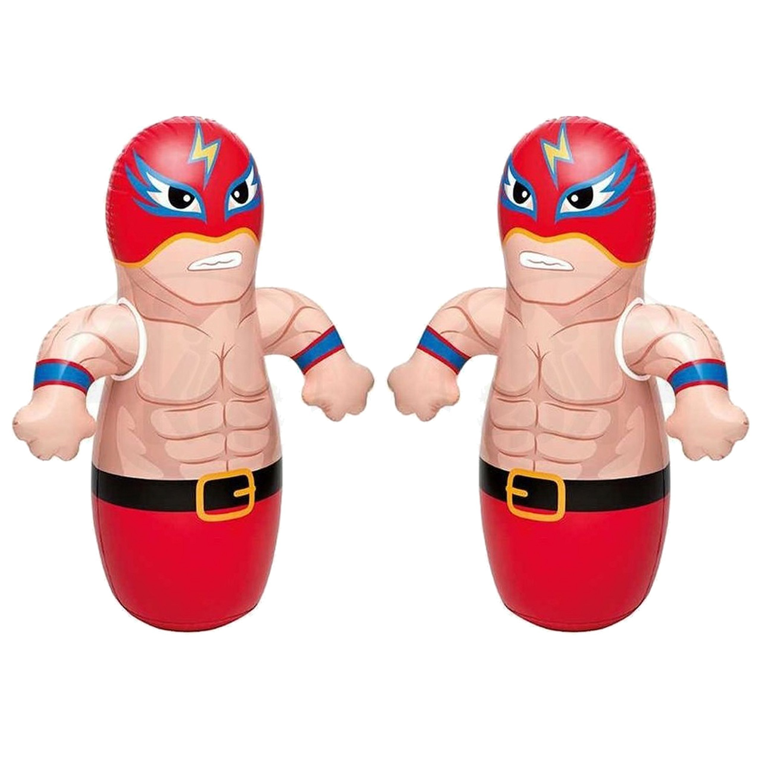 36'' 2 Pack 3-D Bop Bag Masked Wrestlers - MMA Fighter Wrestling Kick Boxing Tackle Buddy Punching Bop Bag Fun Kids Indoor Outdoor Toy