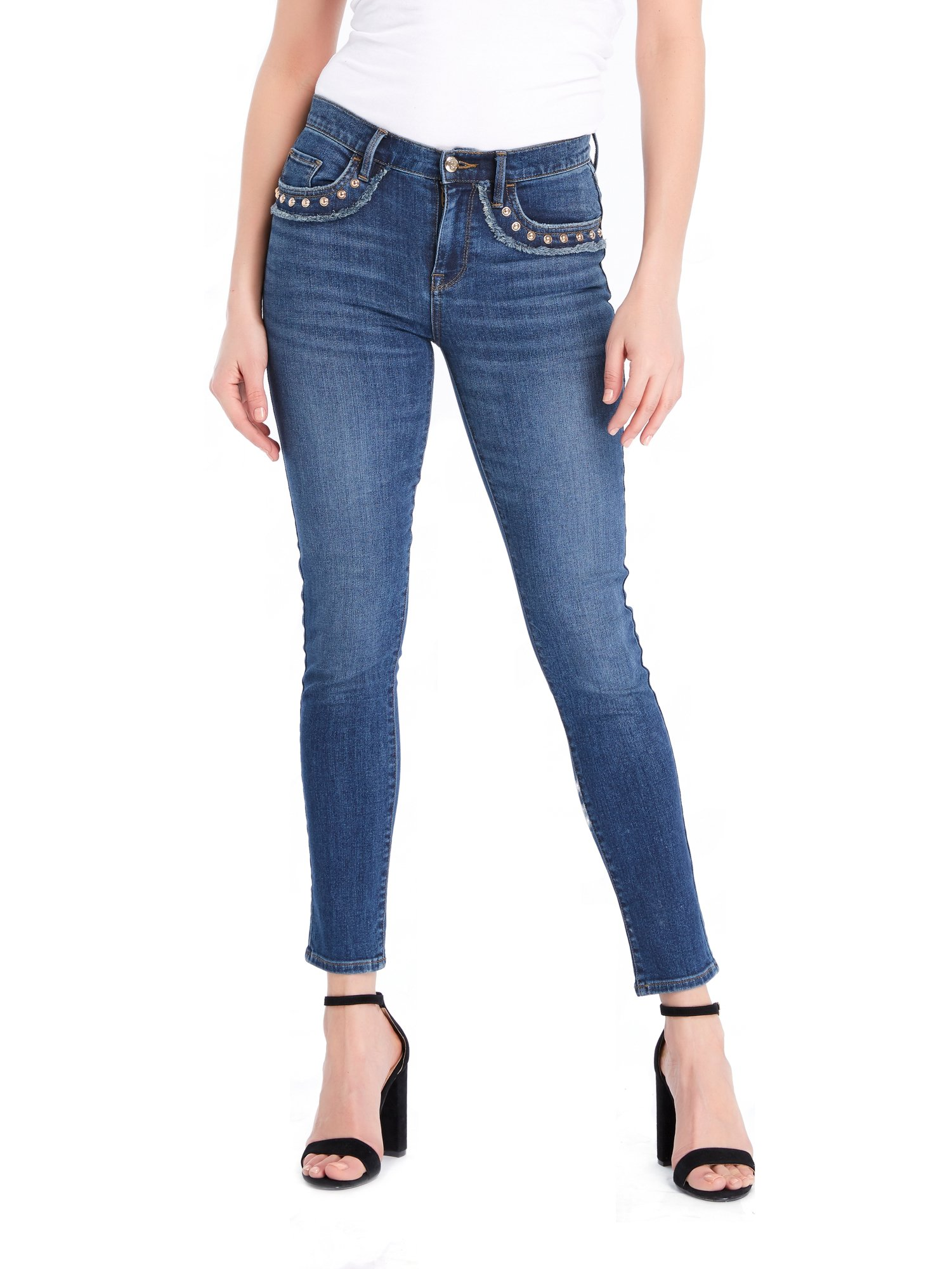 Juicy Couture BLACK LABEL Women's Studded Skinny Denim Jean, Medium Wash, 25 by Juicy Couture