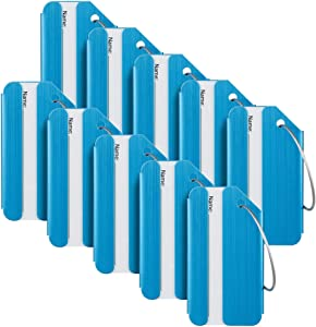 Travelambo Luggage Tags & Bag Tags Stainless Steel Aluminum Various Colors (Blue 10 pcs Set)