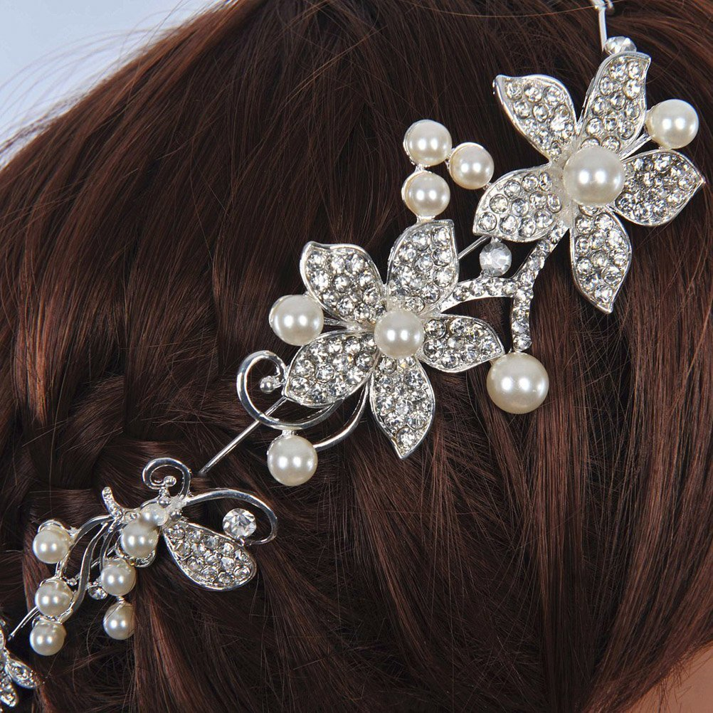 Tinksky Delicate Shining Crystal Rhinestones Faux Pearl Decor Flower Style Womens Bridal Hair Band Headband Tiara (White): Amazon.co.uk: Beauty