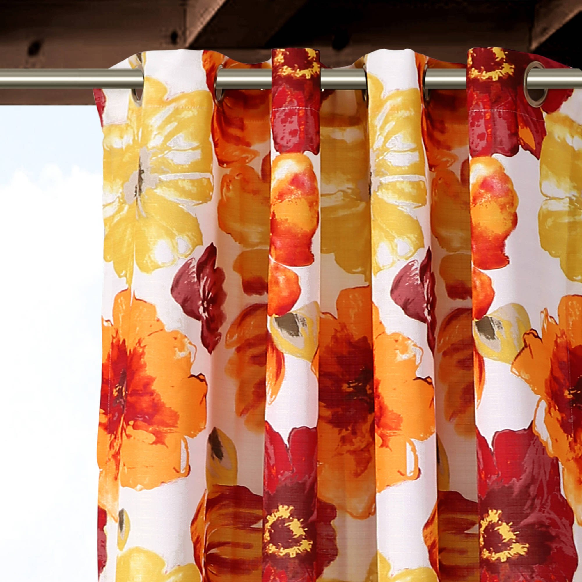 Ln 2 Piece Red Floral Gazebo Curtain Panel 84 Inch, Orange Tropical Print Outdoor Curtain Water Resistant Patio Porch, Nautical Indoor/outdoor Drapes Pergola Garden Sunroom Grommet, Polyester