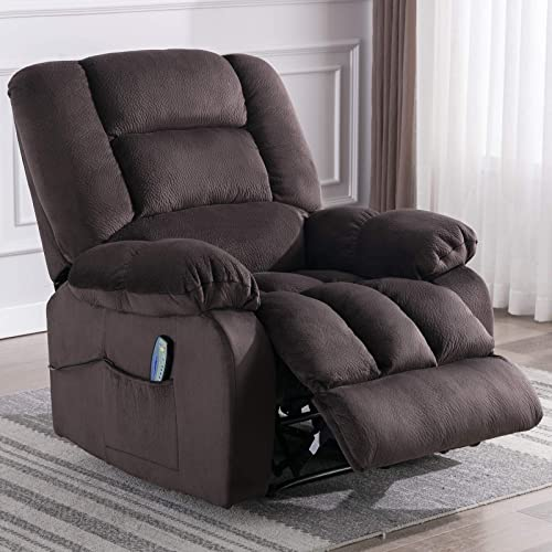 ANJ HOME Manual Massage Recliner Chair with Heat and Vibration, Living Room Reclining Chair with Thickness Armrest and Backrest, Chocolate