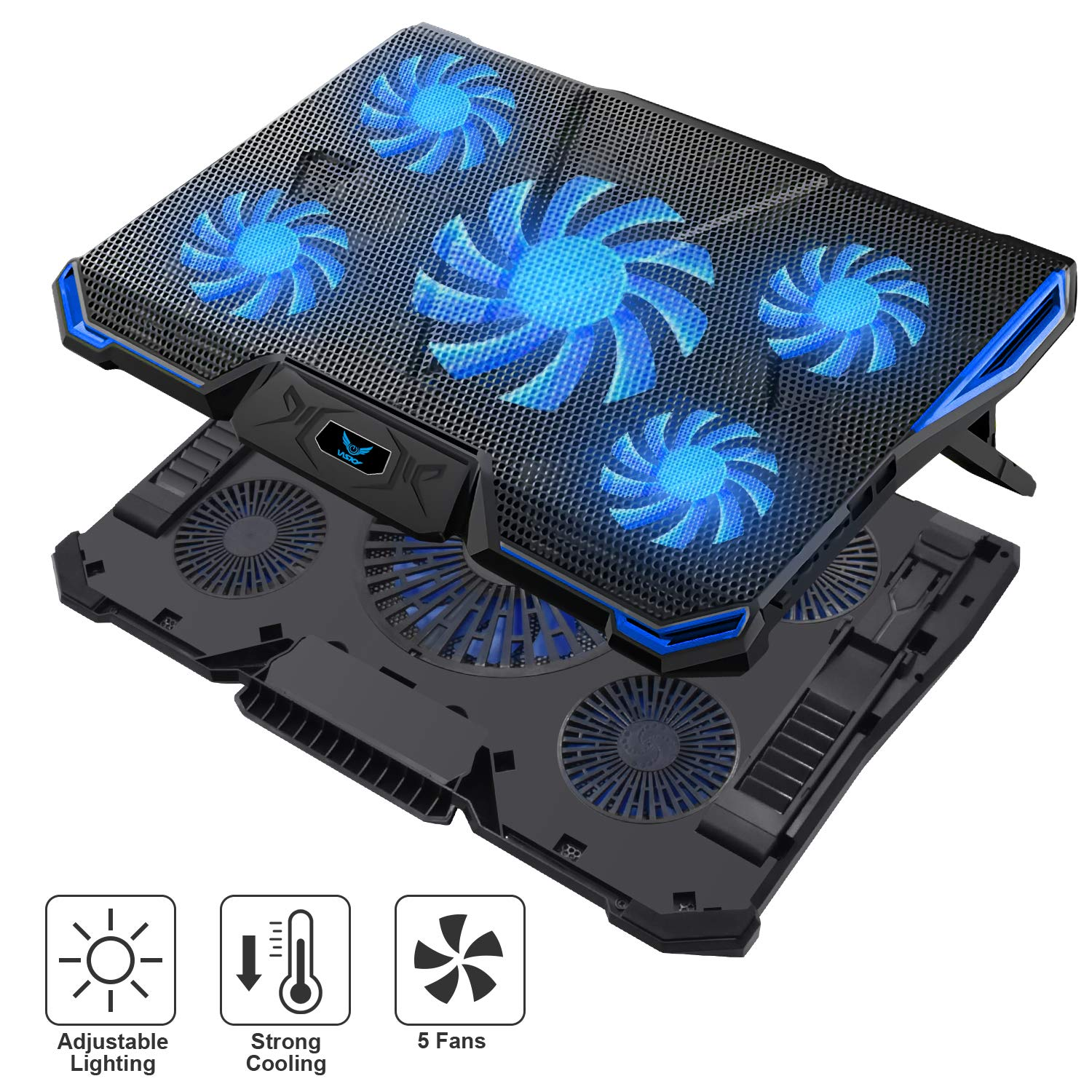 Wsky Cooler Laptop, Ultra Slim Cooling Pad for 12-18 inch Laptop with 5 Quiet Fans and Blue LED Light, Dual 2 USB 2.0 Ports, Adjustable Mount Stand Height Angle